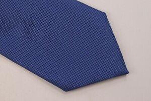 Ermenegildo Zegna NWT Neck Tie Textured Solid Medium Blue 100% Silk