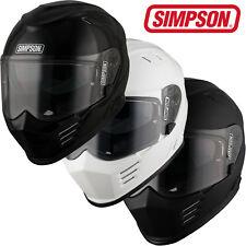 Simpson Venom Full Face Motorcycle Crash Helmet EC2205 Black White Matt Black