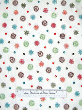 Moda Fabric - Keiki Mind Your Ps & Qs Cream Flower Floral Dot Red Brown Yards