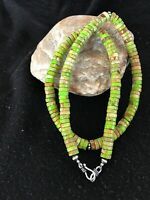 """Navajo Green Turquoise Sterling Silver Necklace 20"""" Rare Gift 8483"""