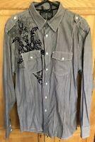 Roar Mens Long Sleeve Button-Down Venture Shirt black gray striped Size Large