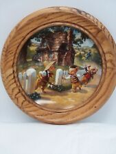 The Three Little Pigs Collector's Plate in Wood Wall Frame #8936A Bradex 1991
