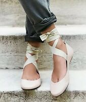 Free People Flats Shoes Degas Ballet Slipper Blush Pink Ankle Tie Leather 6 / 36