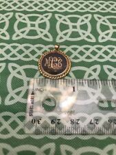 Gold Tone Victorian Style MCE Monogram Enamel Center Necklace Pendant FREE SHIP
