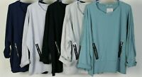 New Ladies Italian Lagenlook Quirky Faux Pocket Boxy Comfy Batwing Tunic Top