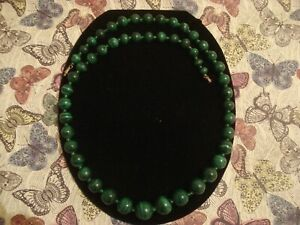 Beautiful Genuine Banded Green Malachite Gemstone Beads Necklace: 23 Inches