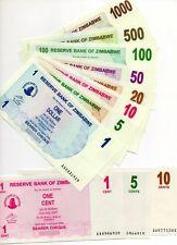 ZIMBABWE Africa set of 11 pcs 1 cent to 500 Dollars 2006-2007 UNC