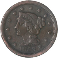 1853 Braided Hair Large Cent Fine FN