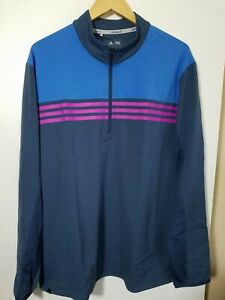 1 NWT ADIDAS CLIMACOOL MEN'S PULLOVER, SIZE: X-LARGE, COLOR:NAVY/BLUE/PINK(J160)