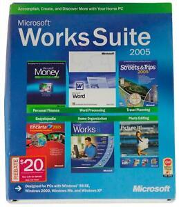 MICROSOFT WORKS SUITE 2005 5-Disc SET Windows 2000 XP 98 SE Software CIB Big Box
