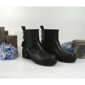 Coach Black Rubber Moto Rainboots Size 6 NWOB