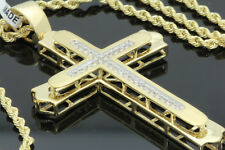 10K YELLOW GOLD .26 CARAT 2.25 INCH REAL DIAMOND CROSS PENDANT - WITHOUT CHAIN
