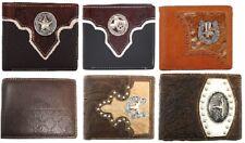 GENUINE LEATHER BI FOLD LONE STAR TEXAS MAP CONCHO MEN WALLET BLACK BROWN #8703