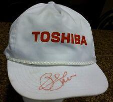 Vintage Signed Toshiba Snapback White Cap Trucker Hat Baseball Cap RARE NICE!!!