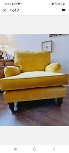 Sofa.com yellow velvet Bluebell Howard style armchair EXCOND