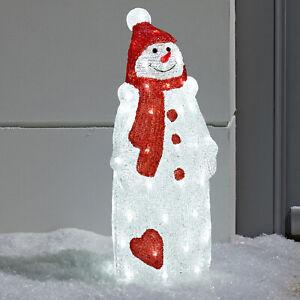 LED Acryl Schneemann Weihnachts Beleuchtung Advent Weiß Außen Strom Lights4fun