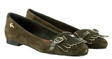 MORI MADE ITALY FLATS SCHUHE SHOES BALLERINA PONY SUEDE LEATHER GREEN VERDE 39