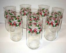 Set of 8 Festive Candy Cane Holly Design Tumblers Excellent Graphics (ACS)