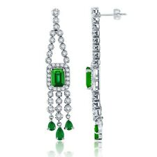 14k White Gold 1.50ctw Emerald & Diamond Chandelier Fringe Dangle Earrings