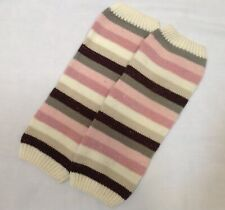 Gap Kids pink gray brown stripe sweater knit dance ballet child leg warmers S M