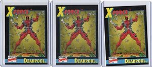 Lot of (3) 1991 Impel X-Force #3 Deadpool Promo Marvel Trading Cards Rookie MINT