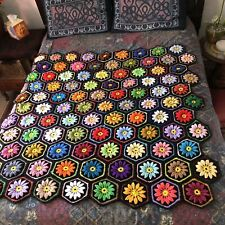 Crocheted Afghan Blanket Hexagon Granny Square 3D Flower Colorful Daisy Vintage