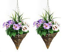 2 x Artificial CONE Hanging Baskets - WHITE & PURPLE Spring Pansies (Viola)