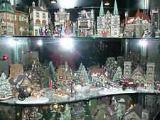 5 shelves Dicken's~ Christmas in the City ~ Snow Village Bldgs People Trees Etc