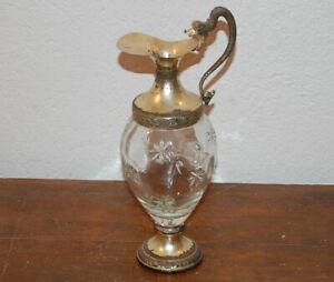 Antica Bottiglia Decanter in cristallo e argento
