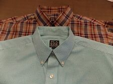 2 JOS A BANK TRAVELERS COLLECTION SHIRTS 1 PLAID/1 CHECK BUTTON DOWN COLLARS SIZ