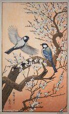 Toshi Yoshida Japanese Woodblock Birds in Spring, Fine, Beautiful & Framed!