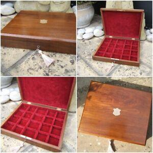 WONDERFUL 19C VICTORIAN WALNUT DATED 1900 ANTIQUE JEWELLERY BOX - FAB INTERIOR