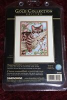 Dimensions Napping Kitten Gold Collection Petites Cross Stitch Kit NEW 65090
