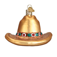 Old World Christmas COWBOY HAT (32354)X Glass Ornament w OWC Box