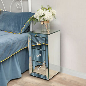 3-Drawer Mirrored Nightstand, Silver Glass Bedside End Table with Crystal Knob