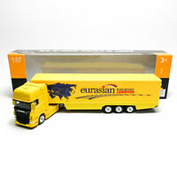 Welly 1:87 Die-cast Scania V8 R730 Container Truck Yellow Model with Box Collect