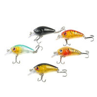 5pcs Fishing Lures Crankbaits Treble Hooks Randomly Baits Tackle Bass Minnow Set