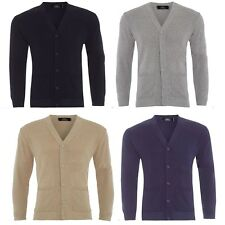 Mens Plain Knitted V Neck Buttoned Cardigan Fine Cotton Knitwear Warm Top S-5XL