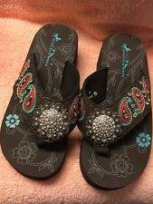 Montana West Embroidered Paisley Bling Collection Flip Flops; Brown NWOT! SIZE 6