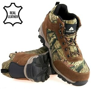 Mens Camouflage Leather Waterproof Country Hunting Walking Outdoor Boots Size UK