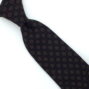 Gentry Tie Challis Medallion Madder Black Brown Rockabilly Skinny Wool I16-396