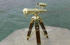 Solid Brass Double Barrel nautical Telescope With Wooden Tripod best nautical