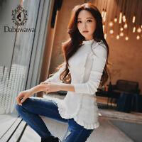 Dabuwawa Women Spring Turtleneck Slim Sweater Ruffles Long Sleeve Pullover Tops