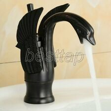 Black Oil Rubbed Brass Animal Swan Style Bathroom Basin Mixer Tap Faucet snf030