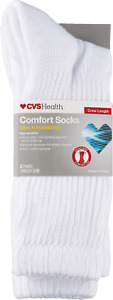 NEW ~ Diabetic Comfort Socks Crew Length Unisex, L/XL White / 2 Pair ~MSRP $9.19