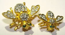 Joan Rivers Bee Brooch Crystals Set Clear Green Eyes Gold Tone Pins