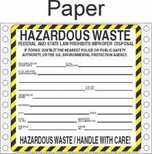Hazardous Waste Paper Labels HWL410 PAPER (PACK OF 500)