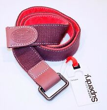 SUPERDRY EXCLUSIVE Chocolate BROWN Buckle CAMBRIDGE Belt 100% Cotton S Free Ship