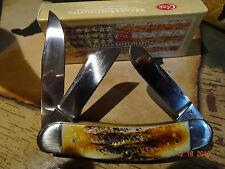 "CASE XX SOWBELLY POCKET KNIFE 3.875"" CLOSED 6.5 BONE STAG 6.5339CV 3 BLADES"
