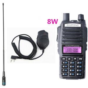 BaoFeng UV-82 8W Dual Band VHF/UHF Walkie Talkie & NA-771 Antennas & Speaker Mic